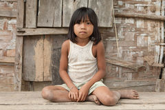 Portrait Girl Of Laos In Poverty Stock Photo