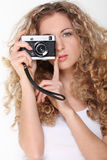 Portrait of the girl with old camera Royalty Free Stock Images