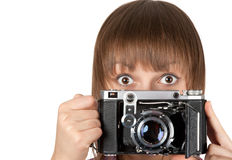 Portrait girl with old photo by camera Stock Photography