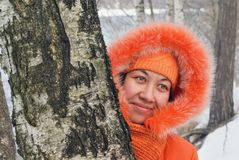 Portrait girl in orange Royalty Free Stock Image