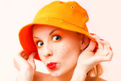 Portrait of a girl in orange colors Stock Photos