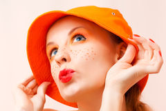 Portrait of a girl in orange colors Royalty Free Stock Images