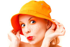 Portrait of a girl in orange colors Stock Photography