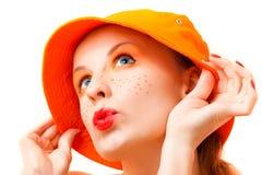 Portrait of a girl in orange colors Stock Photo