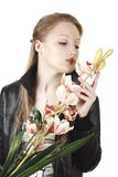 Portrait of a girl with orchids Royalty Free Stock Photography