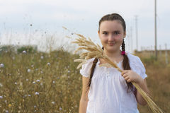 Portrait of  girl over rural landscape Royalty Free Stock Images