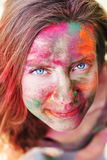 Portrait of girl with paint on her face Stock Photography