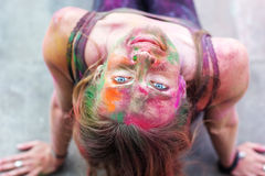 Portrait of girl with paint on her face Royalty Free Stock Images
