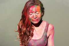 Portrait of girl with paint on her face, Holi Royalty Free Stock Photos
