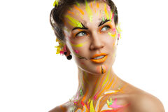 Portrait of a girl in the paint Royalty Free Stock Images