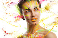 Portrait of a girl in the paint Royalty Free Stock Photography