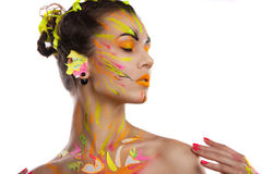 Portrait of a girl in the paint Royalty Free Stock Photo