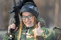 Portrait of a girl in a paintball royalty free stock photo