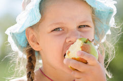 Portrait of the girl in panama eagerly Kushan pear Stock Photo