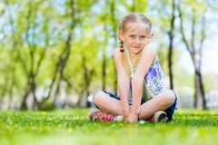 Portrait of a girl in a park Stock Image