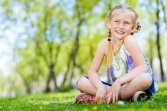 Portrait of a girl in a park Stock Photography