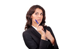 Portrait of a girl with pen Royalty Free Stock Images