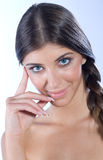Portrait of girl with perfect nails. Beauty portrait of girl with perfect nails Royalty Free Stock Image