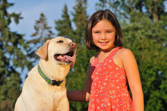 Portrait of girl and pet dog stock images