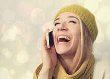Portrait of the girl with the phone. Stock Image