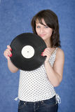 Portrait of the girl with a phonograph record Stock Photography