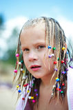 Portrait of a girl with pigtails Royalty Free Stock Photo