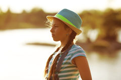 Portrait of a girl with pigtails Royalty Free Stock Photos