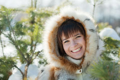 Portrait of  girl in  pine  forest Stock Photos