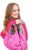 Portrait of girl with pink bag Royalty Free Stock Photos