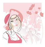 Portrait of a girl in a pink hat Stock Photos