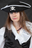 Portrait of girl in piracy hat close up Royalty Free Stock Photography