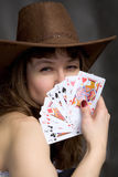 Portrait girl with a playing-cards Royalty Free Stock Photo