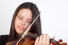 Portrait of girl playing the violin Stock Images