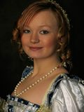 Portrait of girl in Polish clothes of 16 century Royalty Free Stock Photos