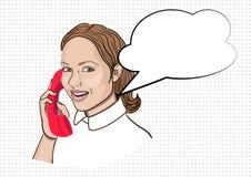 Portrait of girl in pop art style vector illustration