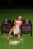 Portrait of a girl with popcorn Stock Photography