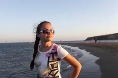 Portrait of girl on Prasonisi cape background Stock Image