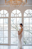 Portrait of a girl pregnant brunette in a white transparent dres Stock Image