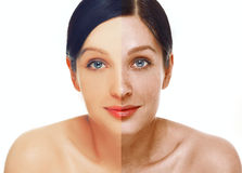 Portrait of girl with problem and clear skin, aging and youth concept Royalty Free Stock Photo