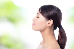 Portrait of girl in profile and close eye Royalty Free Stock Photos