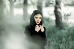 Portrait of girl pulling her trendy sweater over head having fun. Outdoor atmospheric lifestyle photo of young beautiful lady.  Royalty Free Stock Photos