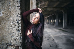 Portrait of a girl in pullover urban style Stock Image