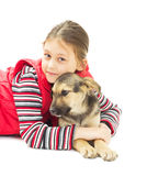 Portrait of a Girl and puppy Stock Photo