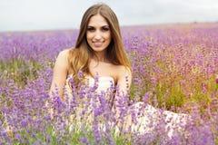 Portrait of girl  at purple lavender field Stock Photo