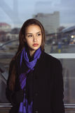 Portrait of a girl in a purple scarf Royalty Free Stock Photos