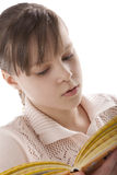 Portrait of a girl reading. With enthusiasm Stock Photos