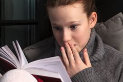 Portrait of girl reading book Stock Photography