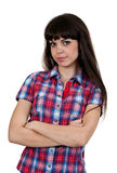 Portrait of a girl in a red checked shirt Stock Photography