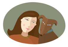 Portrait of the girl and red dog. Vector illustration Stock Photography