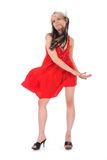 Portrait of the girl in a red dress stock images